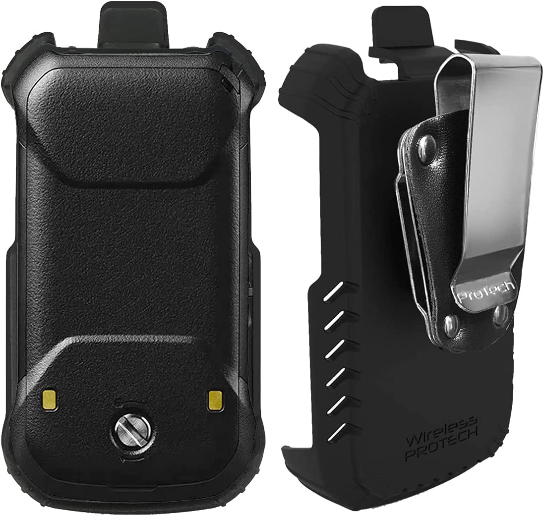 Wireless ProTech Case with Clip Compatible with Kyocera DuraXE Epic for AT&T E4830 and E4830NC, TRU Flex WP66 Material, Secure fit, Quick Release Latch and Heavy Duty D-Ring Swivel Belt Clip Holster