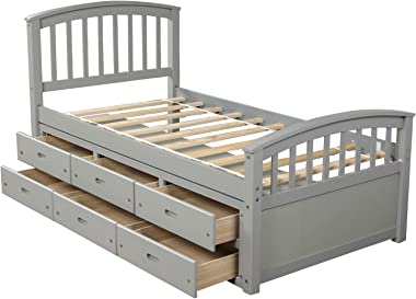 SANGDA Twin Platform Bed with Storage Drawers, Pine Wood Bed Platform with Headboard and Footboard Twin Size Storage Bed for