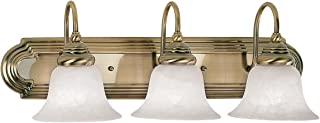 Livex Lighting 1003-01 Bath Vanity with White Alabaster Glass Shades, Antique Brass