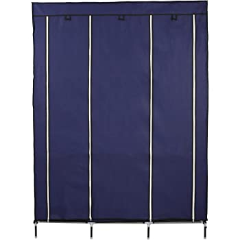 ADA Handicraft Collapsible Portable Closet Storage Organizer Wardrobe Clothes Rack with Shelves - Cyan (Need to Be Assembled)