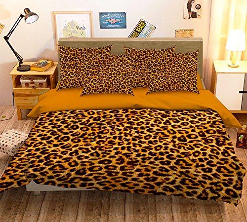 Just Contempo Parure de lit avec housse de couette et taies d'oreiller Motif léopard Noir/jaune, jaune