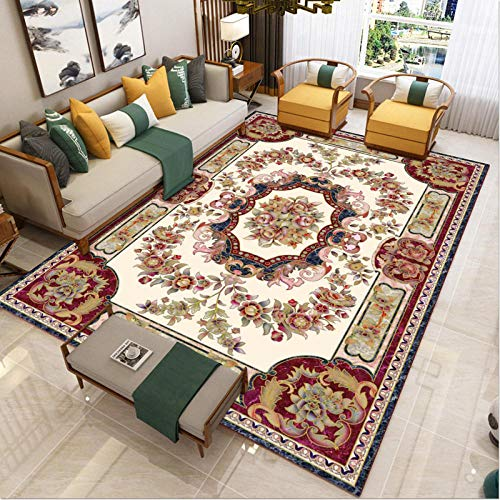 living room decorated with rugs in short pile area - Lounge carpet printing exquisitely carved country retro quality classic anti-fouling-160x230cm