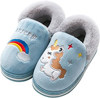 Gilrs Boys Cute Unicorn Slippers Winter Warm Plush Fleece House Slippers for Kids Soft Comfy Memory Foam Home Shoes (Toddler/Little Kid)