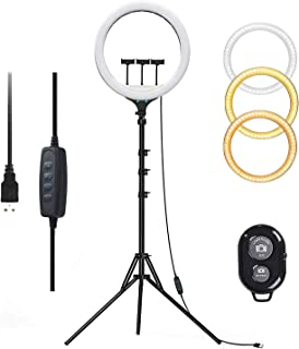"AUSI LED Selfie Ring Light 14"" Ring Light with 3X Tripod Stand for Desk with Phone Holder Bluetooth Remote Control USB Pow..."