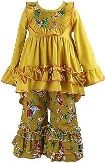 Wennikids Girls Clothes Outfit Kids Ruffle Shirts Dress Boutique Bell Pants Set