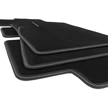 Kh Teile Fußmatten Model 3 Sport Tuning Zubehör Premium Qualität Automatten Doppelziernaht Silber Komplett Set Velours Auto