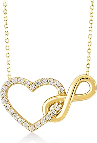 Gelin 14k Real Yellow Gold CZ Infinity and Heart Connected Pendant Chain Necklace for Women, 18 inch