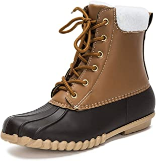 Women's Lace UP Two-Tone Rain Duck Boots