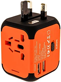Universal Travel Adapter International Power Adapter with 2.4A Dual USB Ports Worldwide AC Wall Outlet Charger for Australia, UK, EU, Asia & US (Orange)