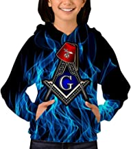 Unisex Masonic Shriner Compass Square Fez 3D Printed Plus Velvet Hoodie Pullover Sweatshirt with Front Pocket