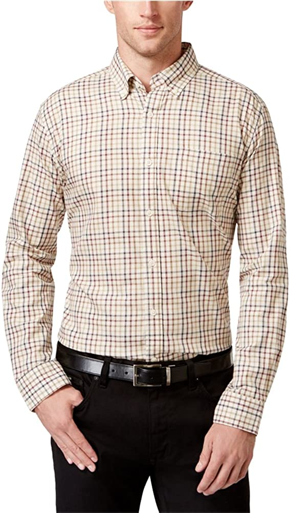 Tricots St. Raphael Mens Tattersall LS Button Up Shirt, Off-White, 3XLT