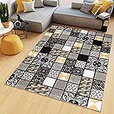 TAPISO Maya Alfombra de Salón Sala Diseño Moderno Amarillo Gris Negro Blanco Geométrico Triángulos Mosaico 120 x 170 cm