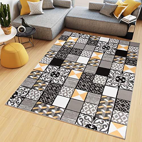 TAPISO Maya Alfombra de Salón Sala Diseño Moderno Amarillo Gris Negro Blanco Geométrico Triángulos Mosaico 80 x 150 cm