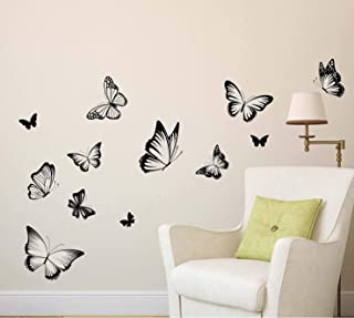StickieArt - ملصق حائط أبيض وأسود فراشات - متوسط - 50 × 70 سم - STA-161