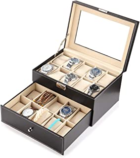 PENGKE 2 Tier and 20 Slot Watch Box Organizer with Pillow Case,Luxury Premium Leather