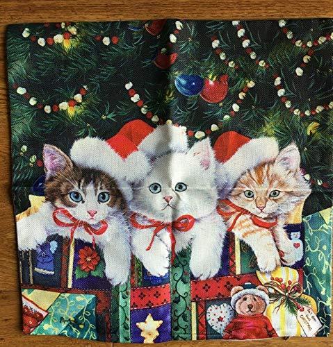 pealrich Fundas de almohada, funda de almohada de Navidad gatitos /, 40,6 x 40,6 cm