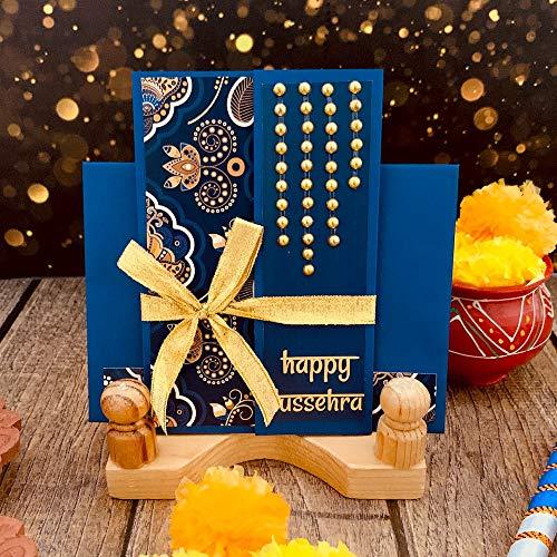Crack of Dawn Crafts Happy Dussehra Greeting Card - Badhiya Blue