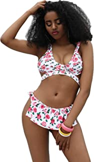Women 2 Piece Bikini Set Floral Print Lace up Ruffle Thong Swimsuit