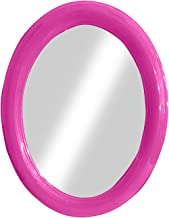 Iyaan Round Bathroom Mirror Wall Mounted Home Bedroom Mirror Dressing Table Decoration Makeup Mirror Antique Style Home Decorative Wall Mirror Glass for Living Room Bathroom Bedroom (Pink)