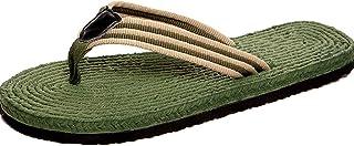 グリーンフリップフロップ、リネン素材、オックスフォードボトムスリップ、さわやかで通気性 (Size : 43)