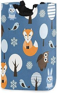 N\A Panier à Linge, Arbre forestier Animal Renard Oiseau paniers de Rangement pour Linge vêtements Pliables Sac Organisate...