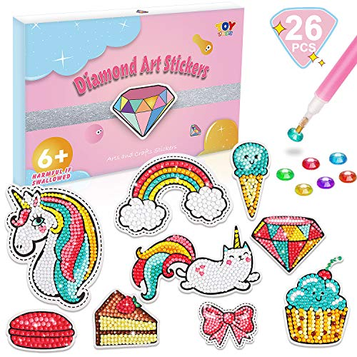 TOY Life Diamond Gem Painting Kits for Kids Age 6 7 8 9 10 11 12 Diamond Painting Stickers Gem Art Kits with 26 Cute Kids Crafts Diamond Stickers Crafts for Girls and Beginners