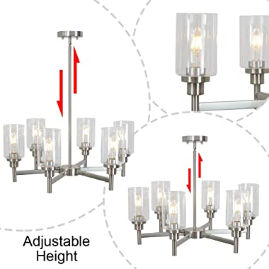 VINLUZ 6 Light Contemporary Chandelier Brushed Nickel Modern Pendant Lighting Cylinder Clear Glass Shaded Classic Ceiling Lig