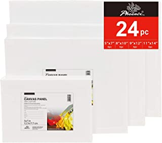 PHOENIX Painting Canvas Panel Boards Multi Pack - 6 Pack Each of 5x7, 8x10, 9x12, 11x14 Inch (24 pcs in Total) - 1/8 Inch Deep Super Value Pack for Oil & Acrylic Paint