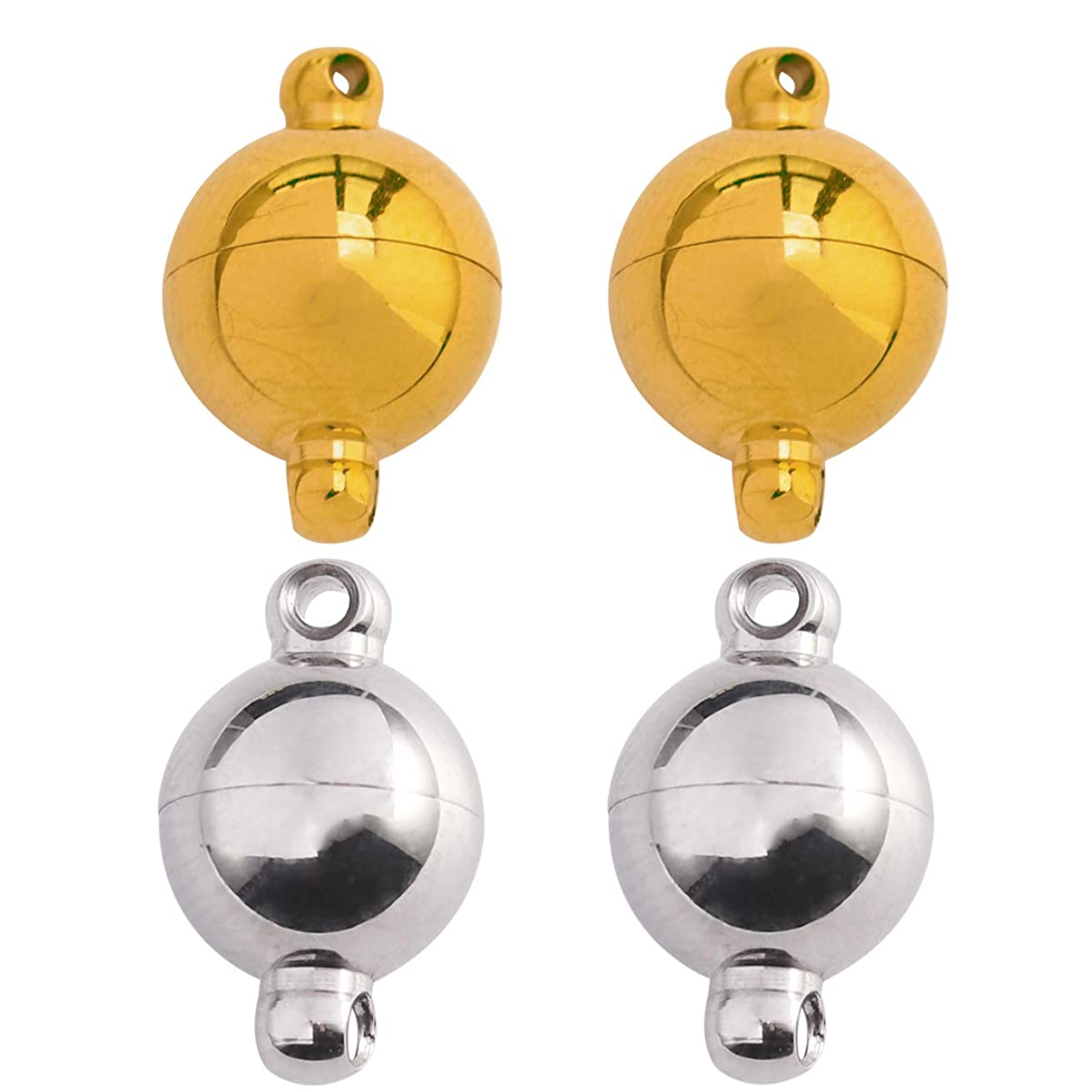Tiparts Strong Magnetic Jewelry Clasps Stainless Steel Round Ball Magnetic Clasps for Bracelet Necklace Jewelry Making 18k Gold and Silver Tone 10mm x 15mm,4 Sets