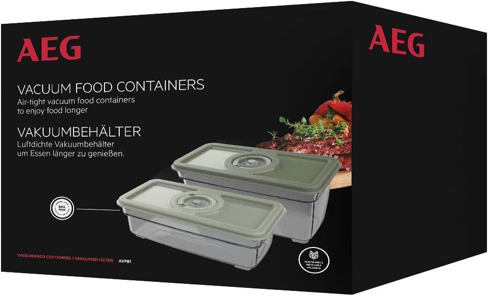 AEG AVFB1 - Kit de Recipientes para Alimentos al Vacío (2 Recipientes, 1,6 y 1,0 Litros, Conservación de Alimentos y Nutrientes, Función Fecha, Apto para Lavavajillas y Congelador, Sin BPA, Verde)