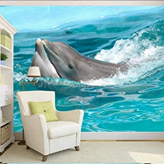 xbwy Photo Wallpaper Hd 3D Stereo Naked Dolphin Jumping Tv Background Decorative Painting Custom Wallpaper Lobby Mural-280X200Cm