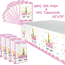 Unicorn Party Favors Bags And Unicorn Plastic Table Cover   Unicorn Themed Birthday Party Decorations   Unicorn Party Supplies Set   Unicorn Party Favors For Kids  Magical Unicorn Party Supplies For Girls And Baby Shower