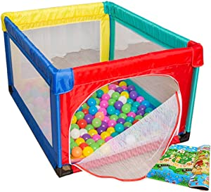 LXDDP Small Baby Playpen with 100 Balls Safety Folding Toddlers Playard with Mattress Anti-Rollover Nursery Center Kids Play Yard
