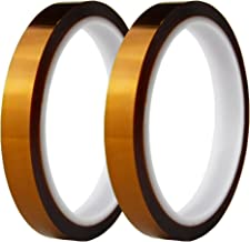 Hxtape High Temperature Kapton Tape,Polyimide Film Tape to Masking,3D Printing,Electric Task,Soldering,1/2 inch(12mm),36yds,2 rolls