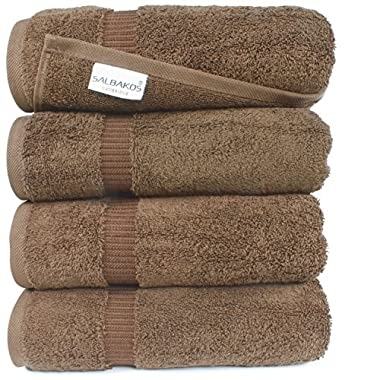 SALBAKOS Luxury Hotel & Spa Turkish Cotton 4-Piece Eco-Friendly Bath Towel Set 27 x 54 Inch, Chocolate