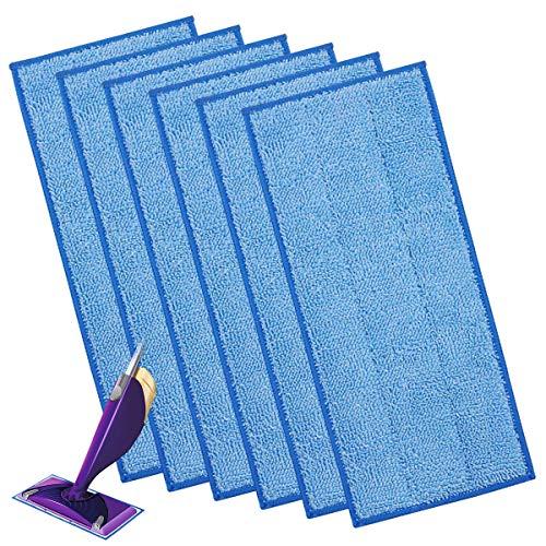 6 Stück wiederverwendbare Reinigungstücher für Swiffer WetJet Wood, Nachfüll-Tücher blau für Swiffer Parkett WetJet Besen Spray
