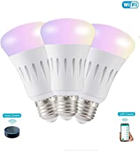 Smart LED Bulb WiFi Light Bulb E27 Free APP Remote Control Color Adjustable Bulbs Compatible with Amazon Alexa and Google Assistant, A19 LED, 7 Watts, Dimmable, No Hub Required (3 Packs, Multi-Color)