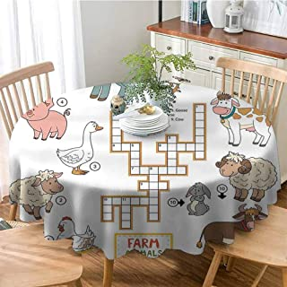 ONECUTE Waterproof Table Cover,Cover for Outdoor Indoor Use,Kids Game Crossword Educational Puzzle for Children with Different Farm Animals and Numbers Multicolor 59