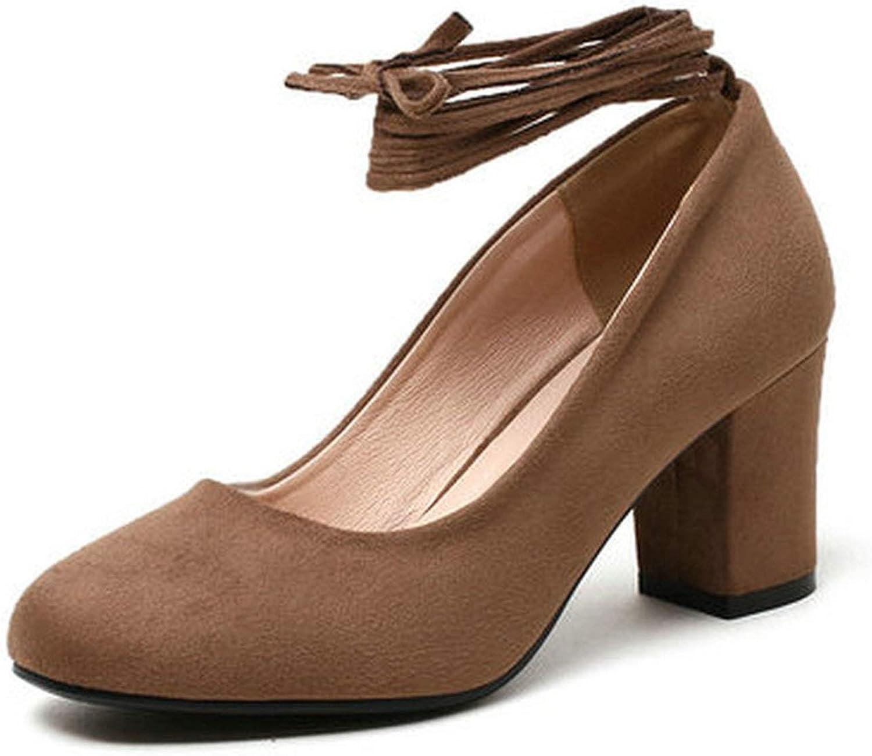 Meiguiyuan Women shoes Round Toe Pu Leather Square High Heel Platform Lace Up Shallow Women Pumps Ladies Pumps