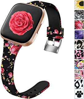 Ouwegaga Slim Fadeless Bands Compatible with Fitbit Versa/Versa 2/Versa Lite/Versa 2 Sepecial Edition Water Resistant Replacement Straps for Women Men Multi Patterns