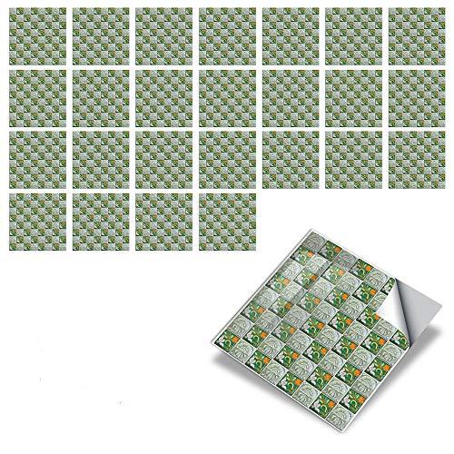 25 hojas Serie Mosaico Pegatinas de baldosas Cocina Protector Contra Salpicaduras Despegar y Pegar, Vinilo Impermeable Autoadhesivo para baño,Pegatinas para Azulejos,Verde,10x10cm