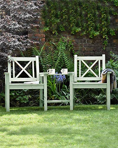 Garden Companion Seat 2 Seater Tete a Tete Solid Sage Green Wood Outdoor Seat Traditional Furniture