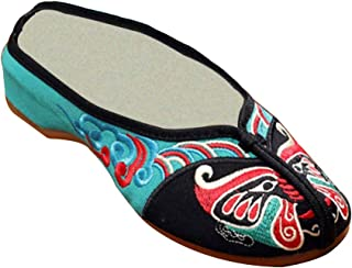 Aiweijia Ladies Embroidery Closed Toe Peking Opera Face Pattern Flip Flop