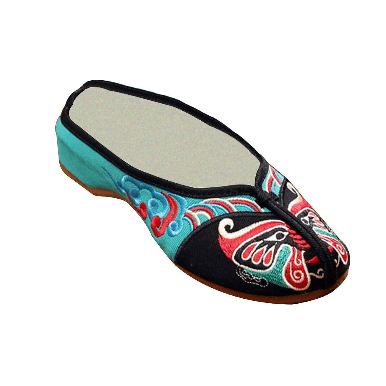 ギャラントリー攻撃的包括的[Aiweijia] レディース刺繍入りフリップフロップクローズド足のスリッパ北京オペラフェイスパターン布靴