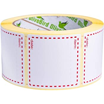 500 x Removable Labels On Roll, Size 50x50mm Square, White and Red Date Labels Use for Reusable Containers