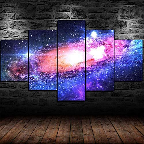 GSDFSD Cuadro sobre Lienzo - 5 Piezas - Vía Láctea Galaxia Espacio Estrellas - Ancho: 150Cm, Altura: 80Cm - Listo para Colgar - En Un Marco