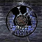Jiedoud Happy Hochzeitszeremonie Paar Ehe Vinyl Schallplatte Wanduhr Wandkunst Hochzeitsgeschenk Home Dekorative Zeituhrmit LED