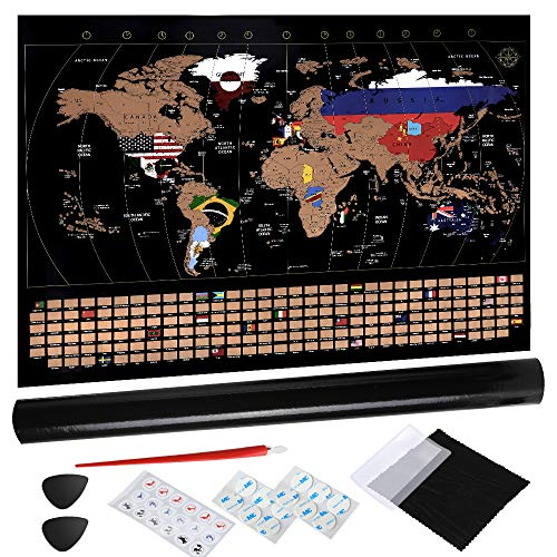 Anpro 80x58cm Scratch Off World Map, Detailed Country Flags Scratch Map Poster with Accessories Kit and Gift Tube, Perfect Personalized Gift for Travel Lovers