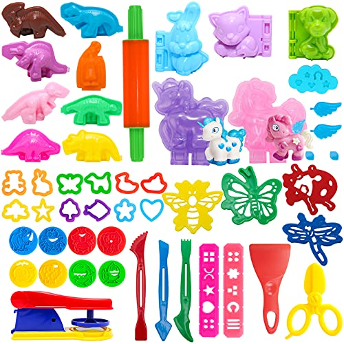 Play Dough Sets for Kids,Play doh Tools 46piece,Various Animal Molds, Playdough Accessories,Assorted Colors,Playdough Sets for Kids
