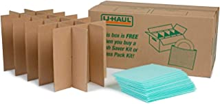 U-Haul Glass Packing Kit for Glasses and Stemware – Includes 1 Box, 1 Cell Divider Unit, and 18 Assorted Foam Pouches (Value Pack of 2)